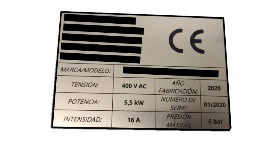 Ejemplo placa marcado CE